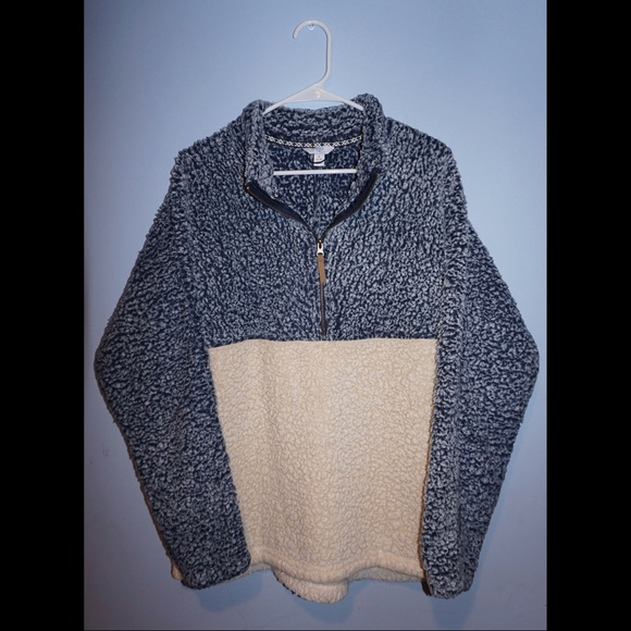 Time and Tru Jackets & Blazers - Super cozy color block teddy bear/sherpa half-zip